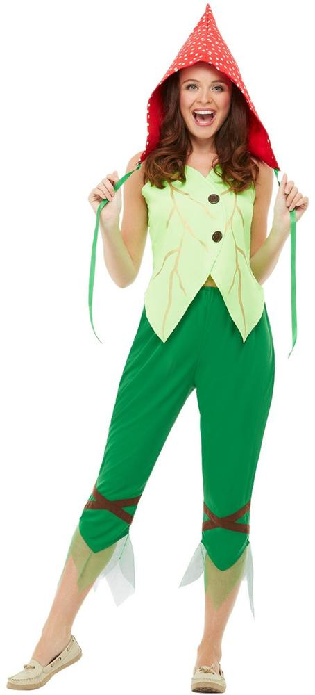 Toadstool Pixie Womens Costume Ladies Fancy Dress Outfit Fairytale Story Dressup