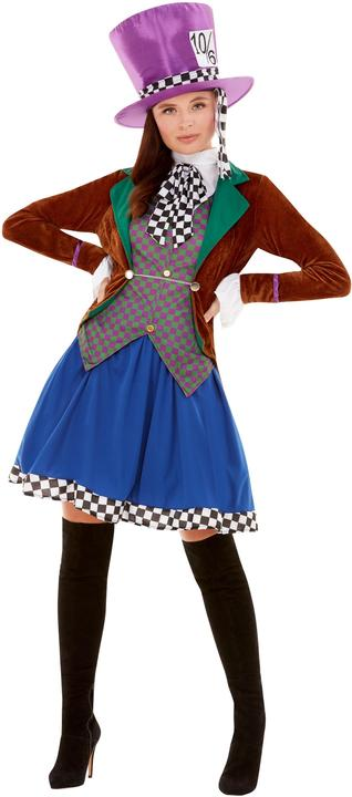Mad Hatter Womens Costume Ladies Alice Wonderland Fancy Dress outfit Book Story Thumbnail 1