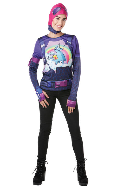 Brite Bomber Costume Top Fortnite womens Fancy Dress Outfit Gaming Dressup Thumbnail 1