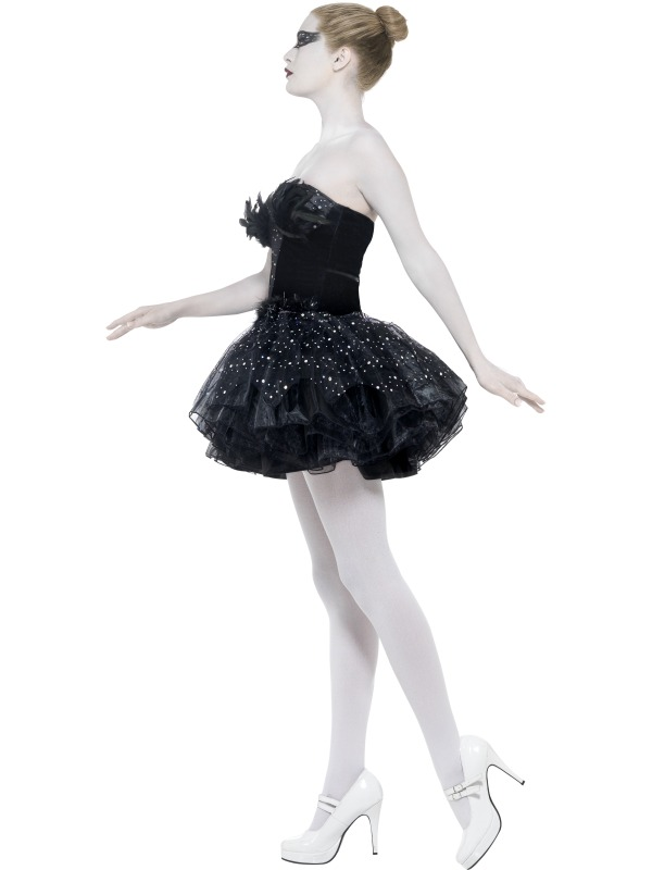 Adult Sexy Gothic Black Swan Ladies Halloween Party Fancy Dress ...