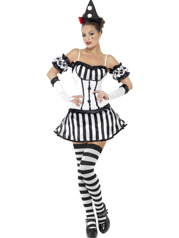 Fever Clown Mime Diva Costume  sc 1 st  Wonderland Party & SALE Adult Sexy Fever Clown Mime Diva Ladies Halloween Party Fancy ...
