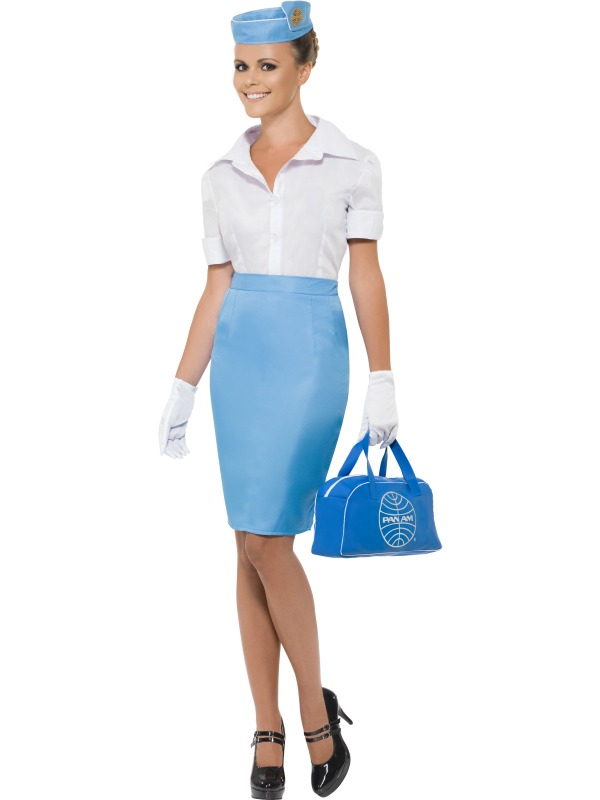 Air Hostess Flight Attendant Cabin Crew Womens Uniform Ladies Fancy Dress Costum