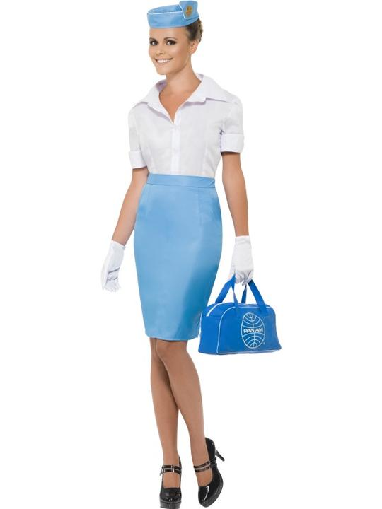 Air Hostess Flight Attendant Cabin Crew Womens Uniform Ladies Fancy Dress Costum Thumbnail 1