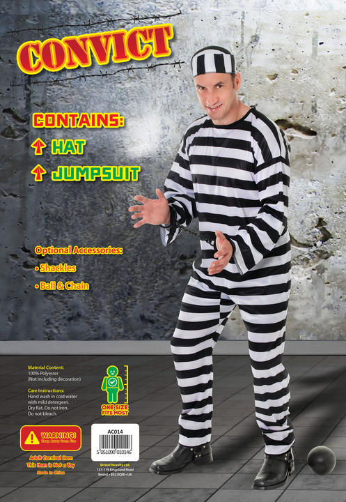 Men's Convict Fancy Dress Costume  Thumbnail 2