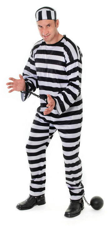 Men's Convict Fancy Dress Costume  Thumbnail 1