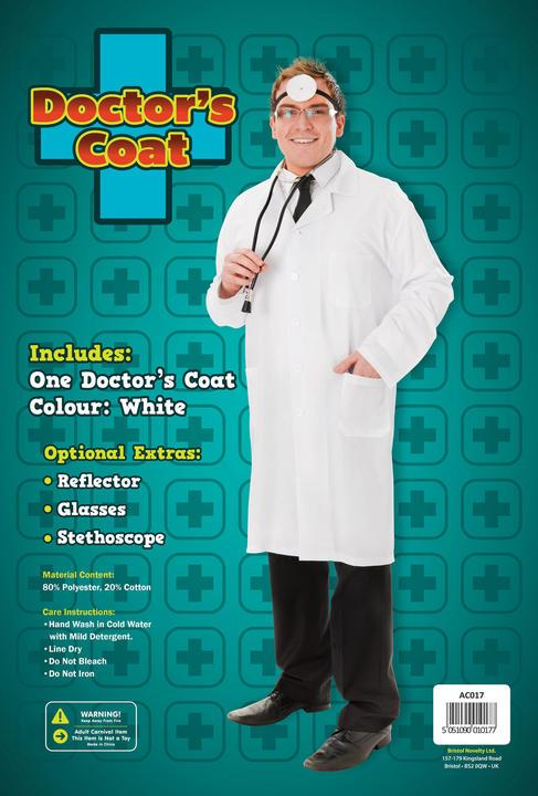 Men's Doctor Coat Fancy Dress Costume Thumbnail 1