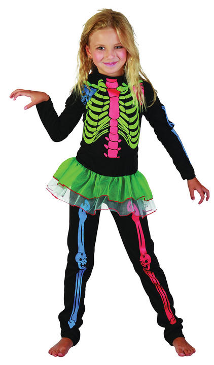 Skeleton Girl Multi coloured Costume Thumbnail 1