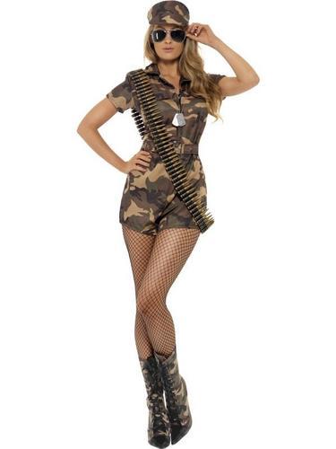 Sexy Army Lady Fancy Dress Costume Thumbnail 1
