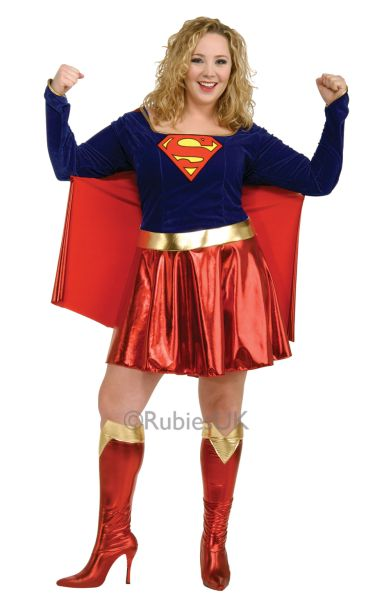 Sale Adult Plus Size Superhero Supergirl Ladies Fancy Dress Costume