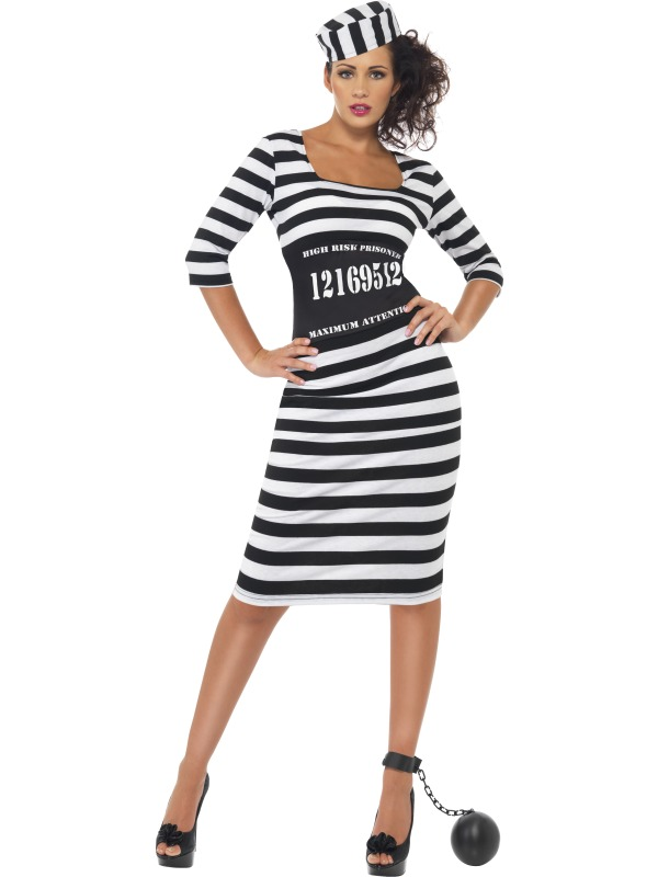 Adult Sexy Classy Convict Prisoner Ladies Fancy Dress Hen Party ...