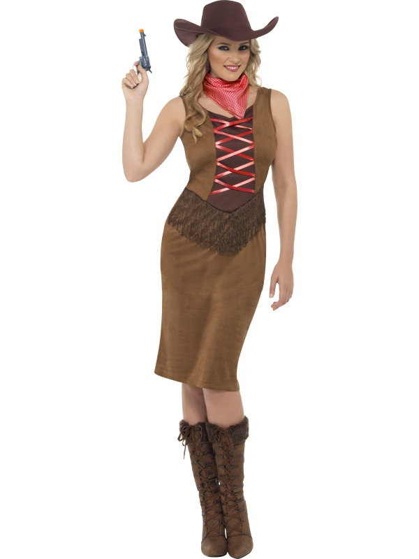 Fringe Cowgirl Costume  sc 1 st  Wonderland Party & SALE! Adult Wild West Fringe Cowgirl Ladies Fancy Dress Hen Party ...