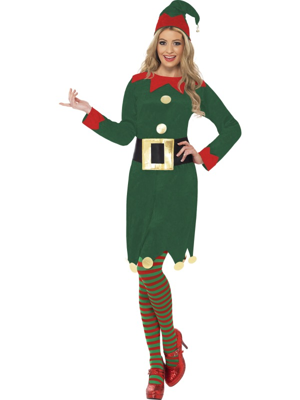 Elf Fancy Dress Costume  sc 1 st  Wonderland Party & Adult Christmas Santas Little Helper Miss Elf Ladies Fancy Dress ...