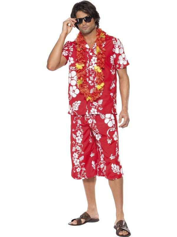 Adult Hawaiian Holiday Beach Hunk Mens Fancy Dress Stag Party ...
