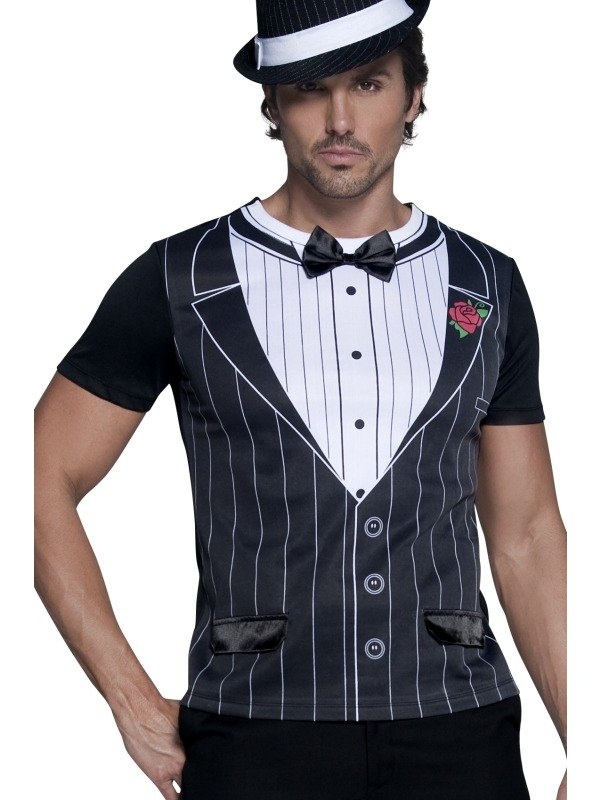 Male Gangster Instant Fancy Dress Costume T Shirt  sc 1 st  Wonderland Party & SALE! Adult 1920s Gangster T-shirt Mens Fancy Dress Stag Party ...