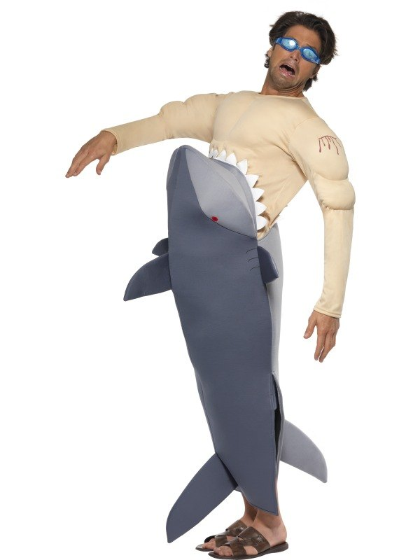 Man Eating Shark Fancy Dress Costume  sc 1 st  Wonderland Party & SALE! Adult Funny Man Eating Shark Jaws Fancy Dress Stag Party ...