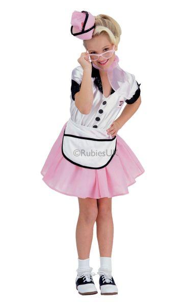 Girls Soda Pop Girl Fancy Dress Costume  sc 1 st  Wonderland Party & SALE Kids 50s 60s Retro Soda Pop Waitress Girls Fancy Dress Costume ...