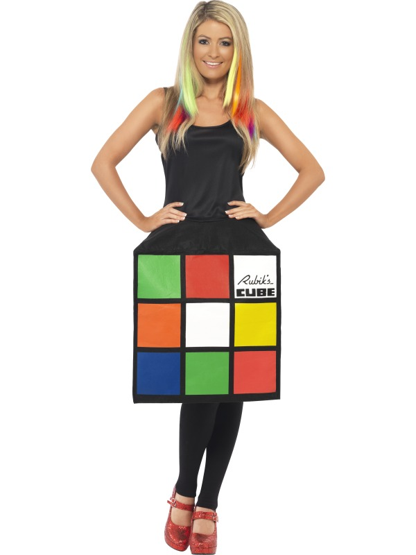 Adult 80s Retro Rubiks Cube Puzzle Ladies 1980s Fancy Dress Costume