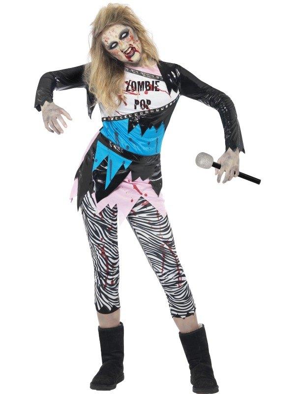 Zombie Pop Star Fancy Dress Costume Kids  sc 1 st  Wonderland Party & Kids Zombie Pop Star Girls Halloween Party Horror Fancy Dress ...