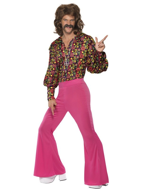 Adult 60s 70s Groovy CND Flares Suit Mens Fancy Dress Stag Party ...