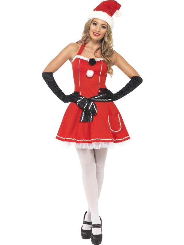 Adult Sexy Christmas Pom Pom Santa Ladies Fancy Dress Xmas Party ... f479309c1569