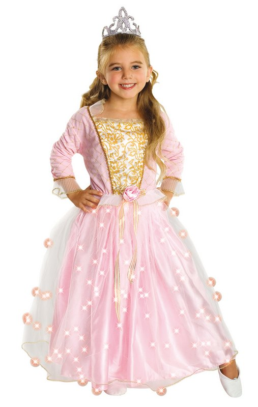 Kids Pink Fairy Rose Princess Girls Light Up Fancy Dress ...