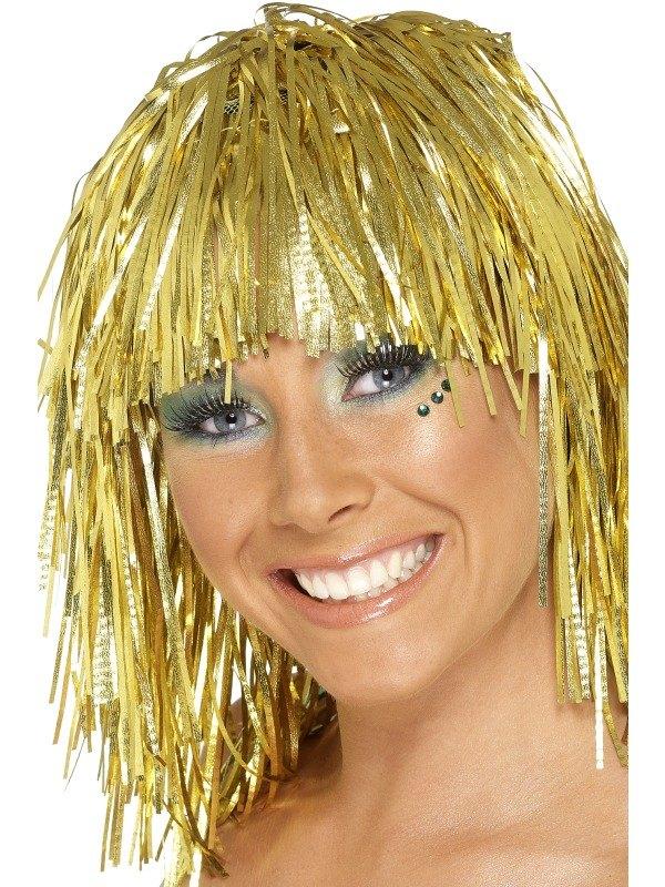 Cyber Tinsel Fancy Dress Wig Gold