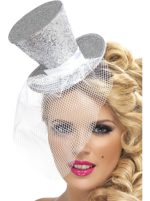 Silver Mini Top Fancy Dress Hat