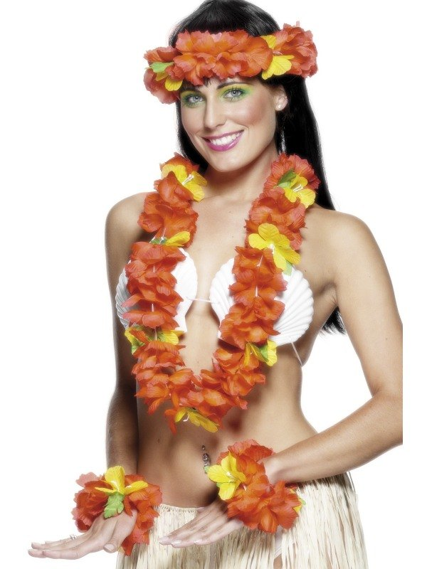 Hawaiian Garland Set   Red