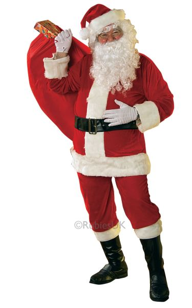 Velour Santa Suit Fancy Dress Costume