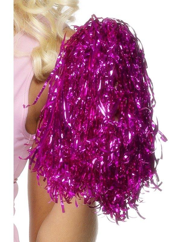 Metallic Pink Pom Poms