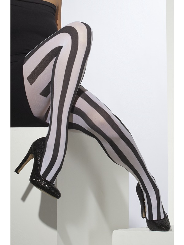 Black and White Striped Tights