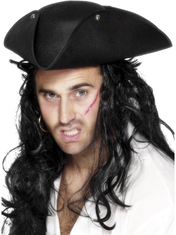 Tricorn Pirate Fancy Dress Hat Plain Black