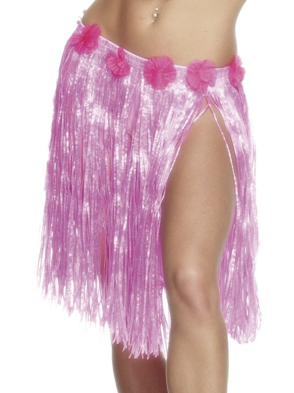 Hula Skirt with Flowers   Neon Pink
