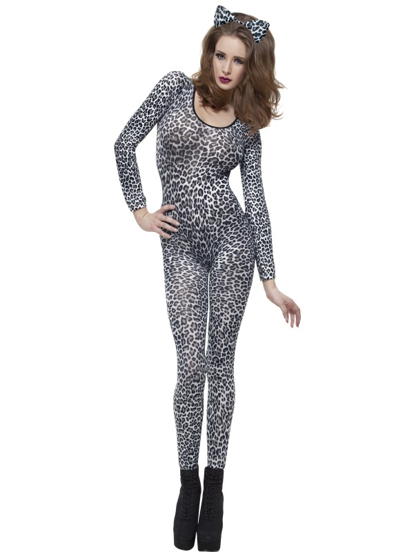 Leopard Print Bodysuit Fancy Dress Costume