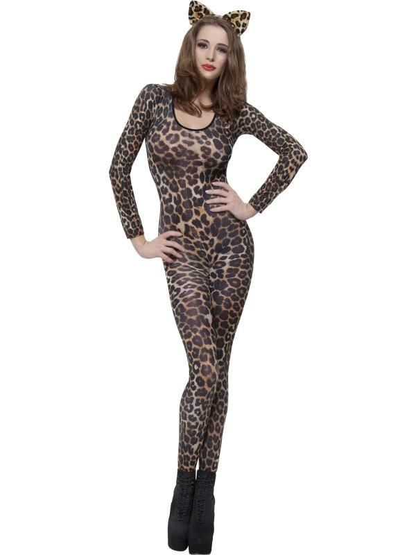 Cheetah Print Brown Bodysuit Fancy Dress Costume