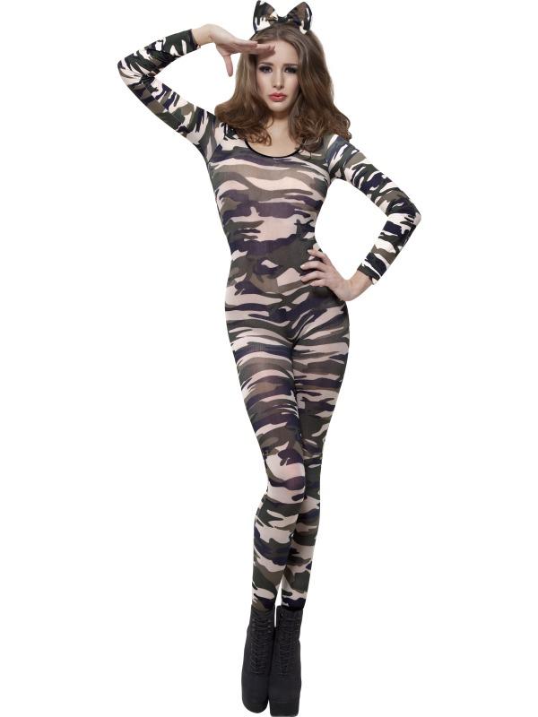 Camoflage Bodysuit Fancy Dress Costume