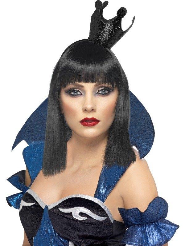 Evil Queen Crown Black Glitter