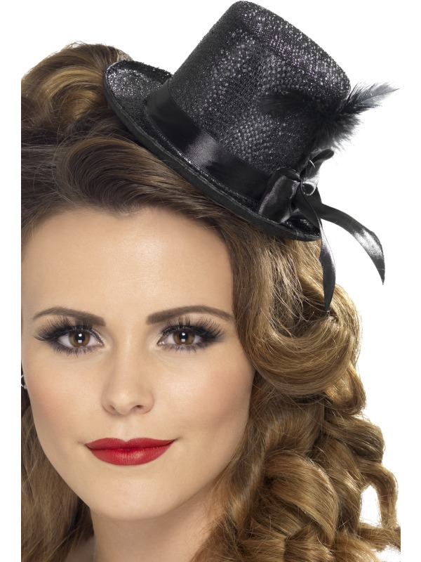 Mini Tophat, Black with Ribbon and Feather