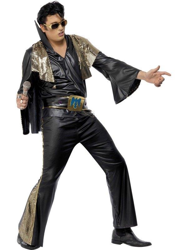 Elvis Fancy Dress Costume Black and Gold