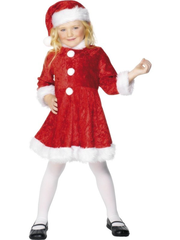 Girls Mini Miss Santa Fancy Dress Costume
