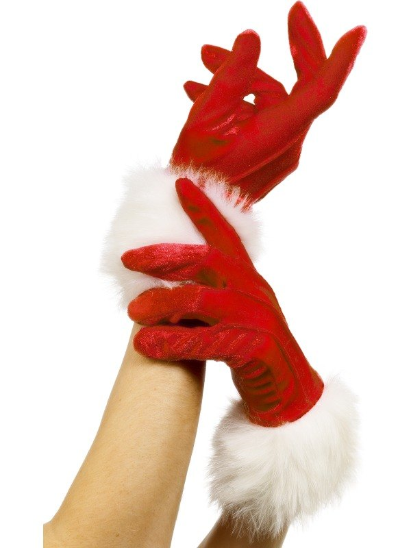 Santa Gloves Red With Fur
