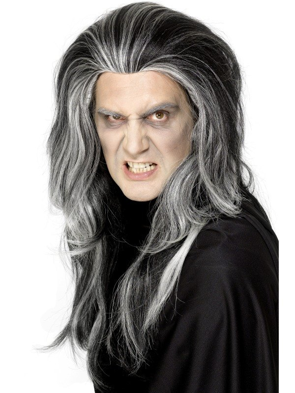 Gothic Vampire Fancy Dress Wig Black and White