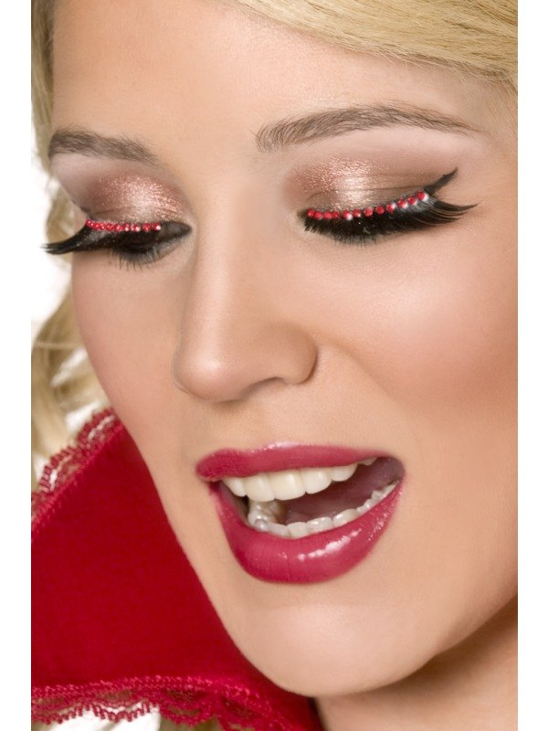 Eyelashes with red crystals