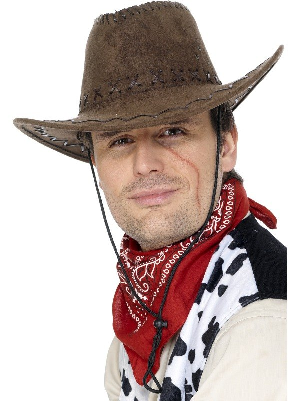 Cowboy Fancy Dress Hat Brown Suede Look