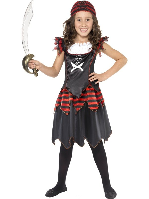 Girls Gothic Pirate Fancy Dress Costume