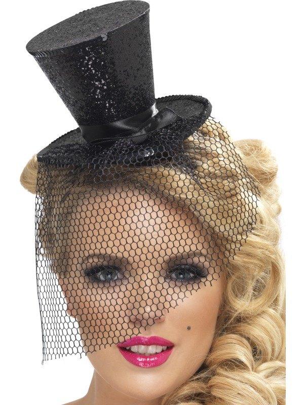 Black Glitter Mini Top Fancy Dress Hat