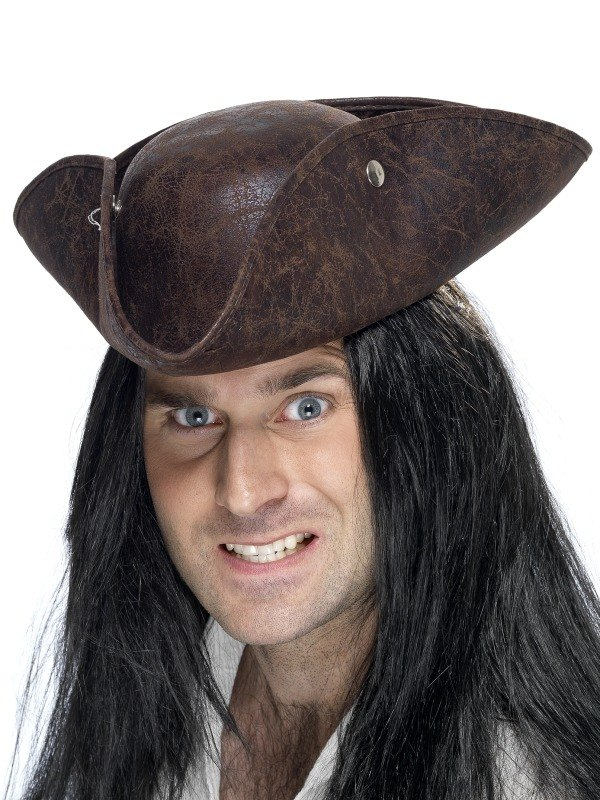 Pirate Tricorn Fancy Dress Hat Brown Suede