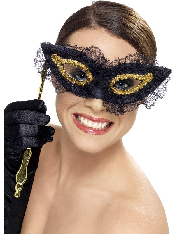 Fastidious Fancy Dress Mask Black and Gold