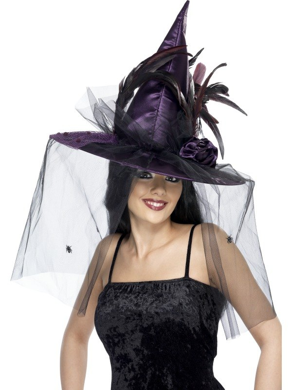 Witches Fancy Dress Hat Purple feathers