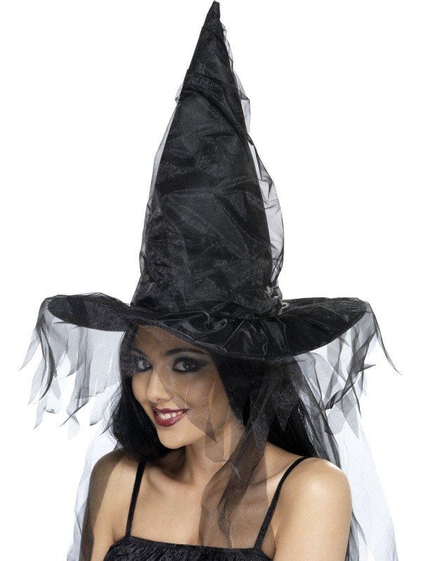 Witches Fancy Dress Hat Long Net Hair